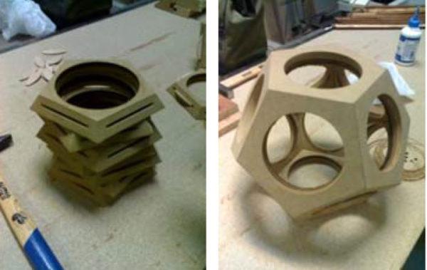 Fig. 6. Caras y estructura del dodecaedro ensamblada.